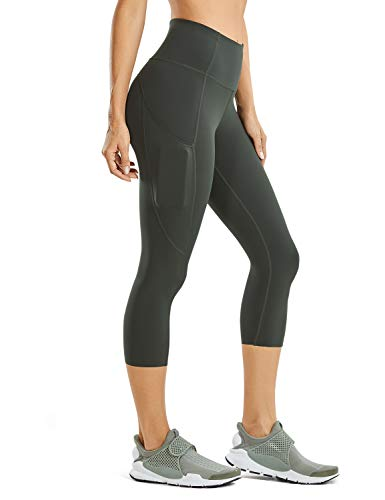 CRZ YOGA Women's Naked Feeling High Waist Gym Workout Capris Leggings with Pockets 19 Inches Olive Green 19'' X-Small