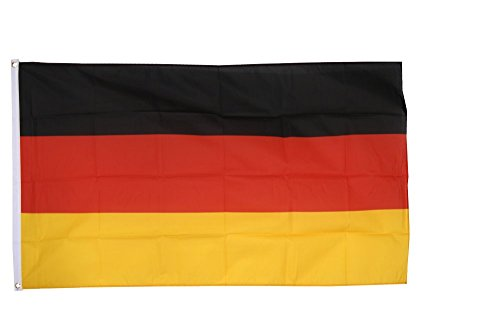 Flaggenfritze® Flagge Deutschland, deutsche Flagge hissfertig mit Ösen + gratis Sticker 90 x 150 cm