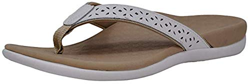 Vionic Women's Tide Perf Toe-Post - Ladies Flip Flops with Concealed Orthotic Arch Support White 10 Medium US