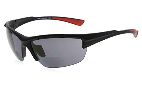 Eyekepper TR90 Sport Halbrandlose Bifokale Sonnenbrille Baseball Laufen Angeln Fahren Golf Softball Wandern Leser (Schwarzer Rahmen Roter Tempel)