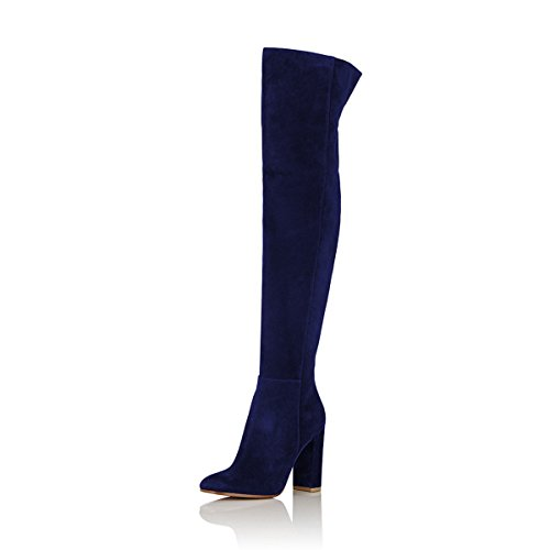 FSJ Women Over The Knee Chunky High Heels Stretch Thigh High Zipper Long Boots Shoes Size 8.5 Navy