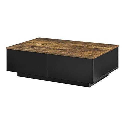 [en.casa] Mesa de Centro 95 x 60 x 31 cm con 4 Cajones para Almacenar Mesa Baja Mesa de Salón Auxiliar Mesa de café Negro y Tono de Madera Oscura