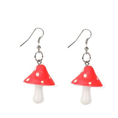 Cute Polka Dot Mushroom Drop Dangle Earrings Fun Simulation Mushroom Resin Earrings for Women Girls Food Jewelry (Red)