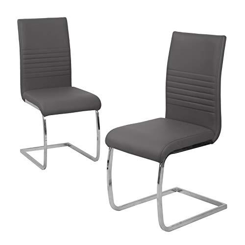 SVITA 2er Set Esszimmerstuhl Freischwinger Polsterstuhl Kunstleder schwarz, grau oder Taupe (grau)