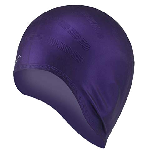 ErNahdasA Cómodo Adulto natación Gorra Hombres y Mujeres Pelo Largo Impermeable natación Gorra protección Oreja Gran Silicona Gorro de Buceo para niñas niños Adolescentes (Color : Purple)
