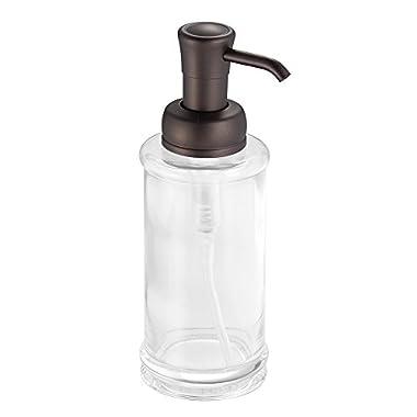 InterDesign Hamilton Glass Soap & Lotion Dispenser Pump for Kitchen or Bathroom Countertops, Clear/Bronze