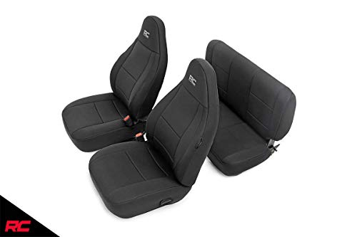 Rough Country 91000 Neoprene Seat Covers (fits) Black 1997-2002 Jeep Wrangler TJ | 1st/2nd Row | Water Resistant