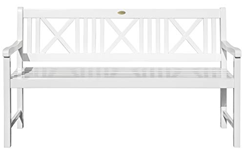 Landhausbank LÜBECK weiß lackiert, 3-Sitzer aus Eukalyptus 100% FSC, B 154 x H 89 x T 59 cm