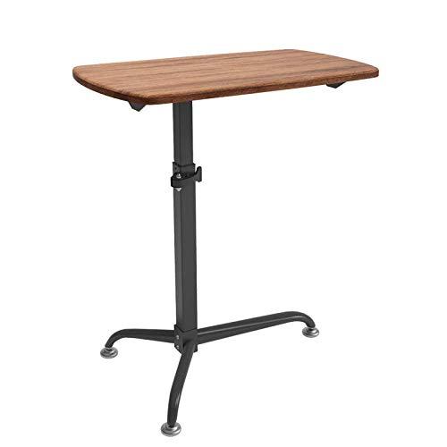 Biurko ze stali węglowej z panelem z ciemnego dębu, regulowana wysokość, zamykane kółka, stoliki przy łóżku Stoliki na komputer Leniwy stolik nocny na laptopa Biurkowy nadstawka