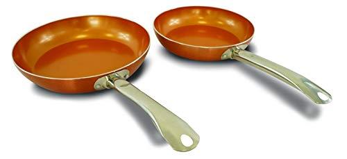 XSQUO Useful Tech Juego DE 2 SARTENES Chef con Revestimiento Antiadherente DE Cobre MICRONIZADO .Mango DE Acero Inoxidable. Vital Copper. TAMAÑOS DE 22 Y 26CM