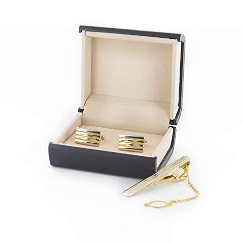 Gold Cufflinks w Necktie Tie Clip Clasp Set Mens Groom Gift Storage Box Case Best Elegant Design Accessories Popular Casual Stylish Accesories Novelty