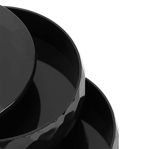Caja de Almacenamiento de Joyas, Caja organizadora de Joyas de tamaño pequeño de Cuatro Niveles Simple y Moderno para Guardar Anillos, Pendientes, Pulsera(Negro)