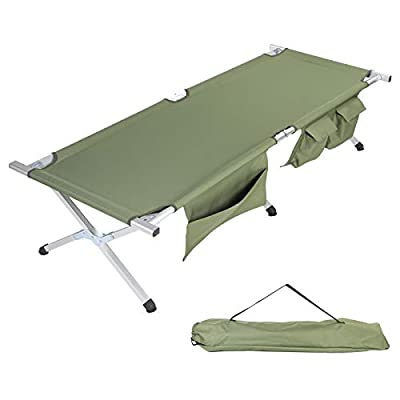 TOPKIN Camping Cot, Portable Folding Cot Bed for Camping Hunting & Backpacking Compact Collapsible Heavy Duty Camp Cot with Side Pockets & Storage Bag for Outdoor & Indoor (Green)