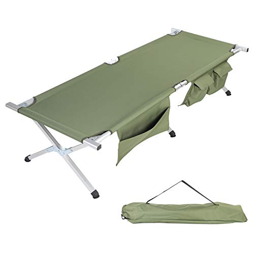 SV SCOOL VALUE Camping Cot, Lightweight Aluminum Camping Cot with Side Pockets & Storage Bag and Portable Folding Cot Bed Used for Camping Hunting, Beach, Barbecue, Hiking, Backpack, Office