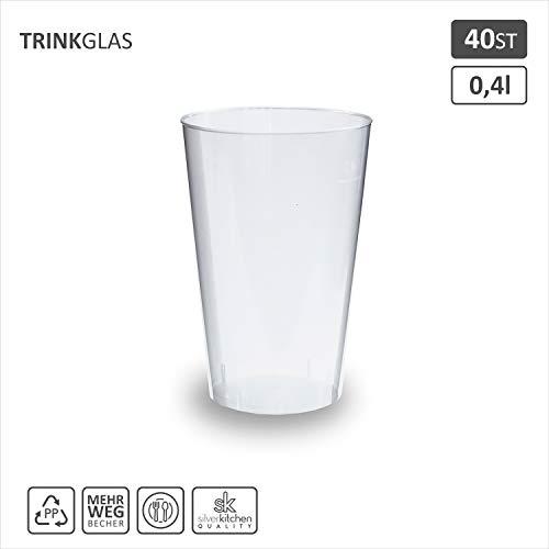 40x Trinkbecher 400ml | transparent bruchsicher | Cocktail Becher aus PP | alt. zu Einweg | Made In Germany | silverkitchen ®