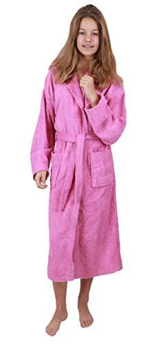 Betz Kinderbademantel mit Kapuze DUBLIN 100% Baumwolle Kinder Bademantel uni Größe 140-176 Größe 164-rosa