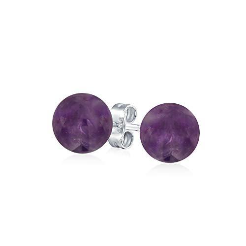 Einfache Edelstein Violett Amethyst Runde Kugel Ohrstecker Für Damen 925 Sterling Silber 8MM Februar Geburtsstein