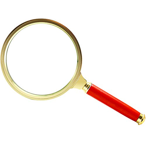 LUSTAR High-Definition Magnifying Glass Portable Wooden Optical Handheld Magnifier for Students Elderly Children Reading Newspapers
