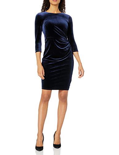 Eliza J Women's 3/4 Sleeve Velvet Sheath Dress with Side Ruching Casual, Navy, 6
