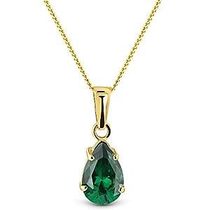 Miore Kette Damen Halskette mit Tropfen Anhänger Edelstein/Geburtsstein Smaragd in grün Kette aus Gelbgold 9 Karat / 375 Gold Halsschmuck 45 cm lang