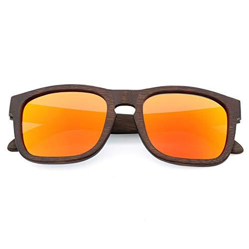 GTYHJUIK zonnebril met frame van bamboe, volledig gepolariseerd, buitenspiegel, antireflecterend, voor buiten, klassiek UV 400 voor heren en dames