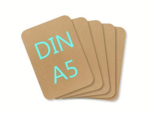 DIN A5 Blanko Papier Karton Karteikarten Set zum Selbstgestalten 300 g/m² Bastelkarton runde Ecken weiß braun schwarz (Kraft-braun 300g/m², 10 Blatt)