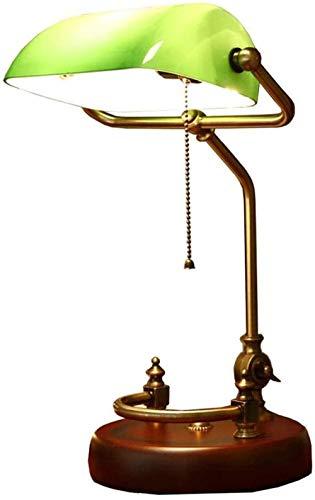 Lámpara de banquero tradicional Base de latón Pantalla de cristal verde esmeralda hecha a mano Lámpara de mesa de oficina vintage Lámparas de escritorio de estilo antiguo-UN