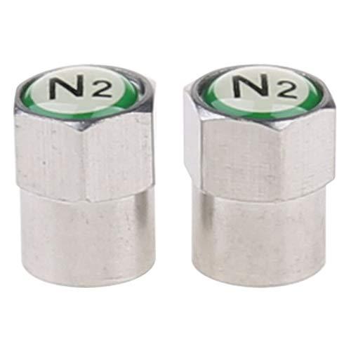 FUNRE 2Pcs / Set Chrom-Auto-Auto TPMS-Ventilschaft-Cap N2 Stickstoff Reifen Insert-Abdeckung (Color : Silver)