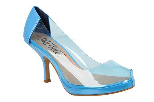 Zapatos de tacón para mujer de plexiglás claro bajo mediados de gatito para fiestas, trabajo, oficina, corte