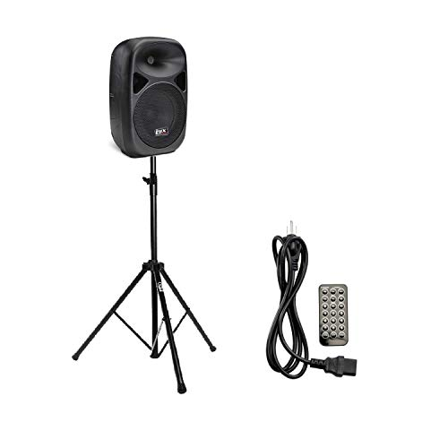 """LyxPro SPA-8 8"""" Portable PA Speaker System With Metal Tripod Stand Combo Kit 100-Watt RMS Power Active Amplifier Equalizer Bluetooth SD Slot USB MP3 XLR 1/4"""" 1/8"""" 3.5mm Inputs Remote Control"""