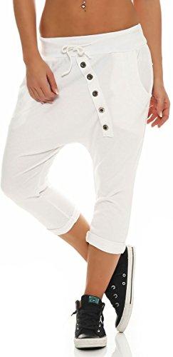 Malito Damen Kurze Hose mit Knopfleiste | Chino Hose in Unifarben | Baggy zum Tanzen | Sweatpants - Trainingshose 8015 (weiß)