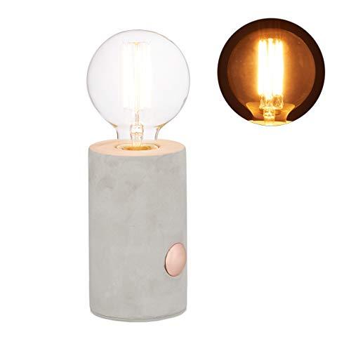 Relaxdays betonnen lamp tafellamp, decoratieve lamp met touch-sensor, ronde nachttafellamp met E27 gloeilamp, 26 x 9 cm, grijs
