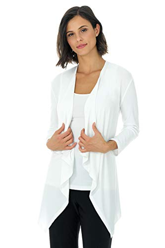 Rekucci Travel in Style - Women's Essential Fluid Throw Over Jacket (Small,Off White)
