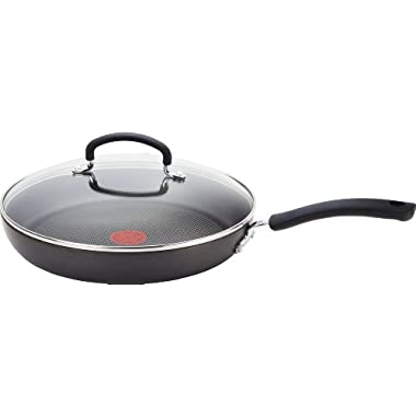 T-fal E76597 Ultimate Hard Anodized Scratch Resistant Titanium Nonstick Thermo-Spot Heat Indicator Anti-Warp Base Dishwasher Safe Oven Safe PFOA Free Glass Lid Cookware, 10-Inch, Gray