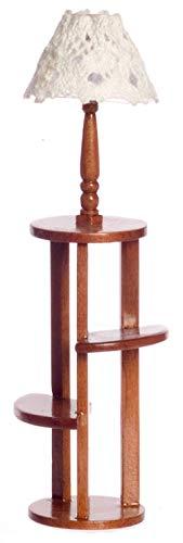 Meubles Maison Poupées Miniature Noyer Grand Affichage Table avec Étagères & Lampe