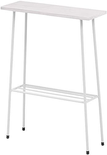 サイドテーブル ラック スリム ホワイト 白 幅40 奥行14 高さ55 おしゃれ 北欧 シンプル ベッドサイド グリーンコーナー トイレ収納 完成品 (ホワイト, 奥行14)