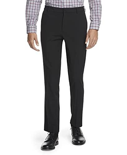 Van Heusen Men's Stain Shield Stretch Slim Fit Flat Front Dress Pant, Black, 32W x 30L