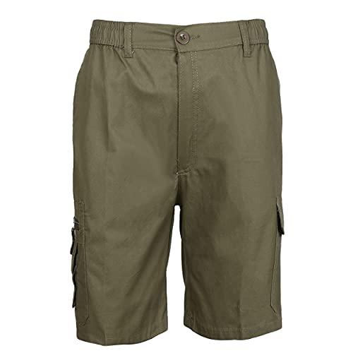 Pantalón Trabajo Corto Multibolsillo con Cintura Elástica Pantalón de Trabajo Corto de Verano Hombre Uniforme Laboral Industrial Verde Militar XL