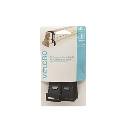 VELCRO Brand All-Purpose Elastic Straps   Strong & Reusable   Perfect for Fastening Wires & Organizing Cords   Black, 27in x 1in   2 Count