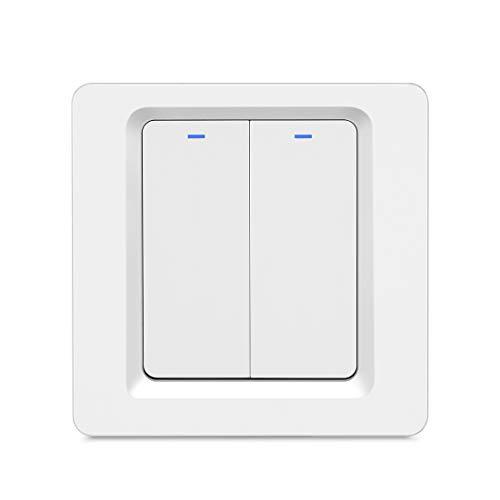 BSEED Smart Wifi Wandschalter, 2 Gang 1 Weg, Weiß WLAN Lichtschalter, physische Taste Schalter, Sprachsteuerung mit Alexa/Google Home, Nullleiter erforderlich, 2,4 GHz