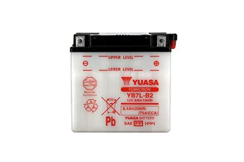 Batería moto Yuasa YB7L-B2 Dry - Fornita secca - 12 V 8 Ah - Dimensiones: 137 x 76 x 134 mm compatible con YAMAHA SV80E sno-Scoot 80 1988-1990