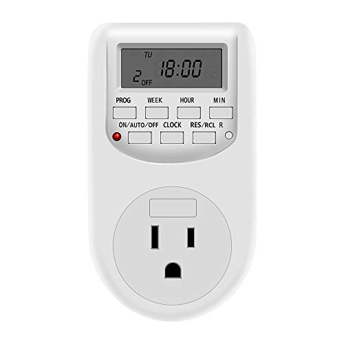 NICREW 7 Days Digital Outlet Timer, Indoor 24 Hours Programmable Plug-in Timer, Energy-Saving Timer,...