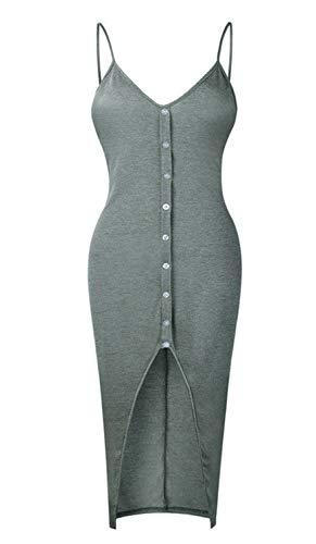 Fashion Dress Women V-Neck Skinny Solid Button High Waist Ankle-Length Dress,Grey Green,XL