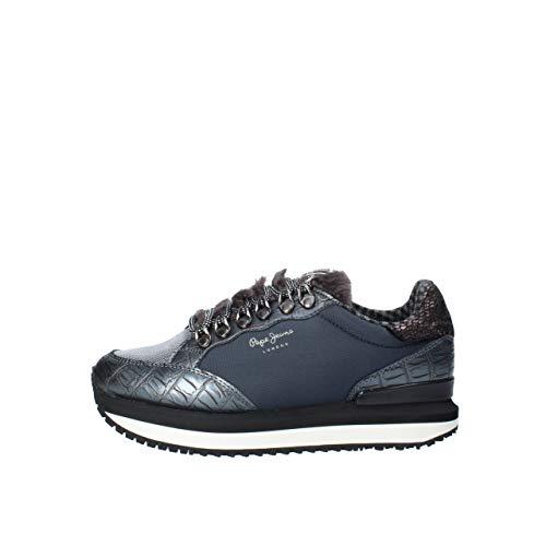 Pepe Jeans London Damen Zion FUR Sneaker, Blau (Admiral 592), 40 EU