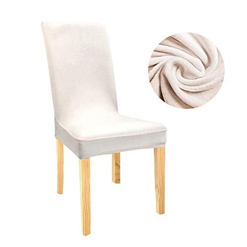 Zxxin-Stuhlhussen Samt Stretch Dining Slipcovers Feste Farbe Spandex-Plüsch-Stuhlabdeckungen Protector, für Heim-Esszimmer, hohe Qualität (Color : Cream, Specification : Universal)
