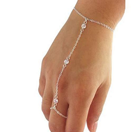 XKMY Cadena de mano con anillo Boho Metal Oro Color Cristal Esclavo Pulseras para Mujer Charms Cadena de Enlace de Dedo Pulseras y Brazalete Joyería (Color de la Piedra Principal: Dorado)