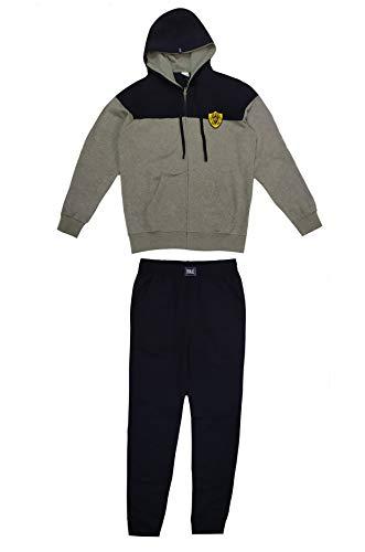 EVERLAST Everlast Trainingsanzug für Herren, zweifarbig, mit Jacke mit Kapuze, blau-grau, L
