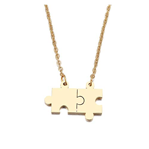 LPZW Stainless Steel Necklace For Women Lover's Gold And Silver Color Puzzle Pendant Necklace Engagement Jewelry (Metal Color : Gold color)