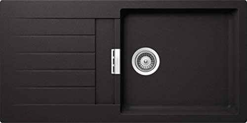 SCHOCK Küchenspüle 100 x 50 cm Primus D-100L Nero - CRISTALITE schwarze Granitspüle ab 45 cm Unterschrank-Breite
