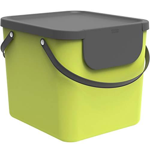 Rotho Albula Mülltrennungssystem 40l für die Küche, Kunststoff (PP) BPA-frei, hellgrün/anthrazit, 40l (39,8 x 35,8 x 33,9 cm)